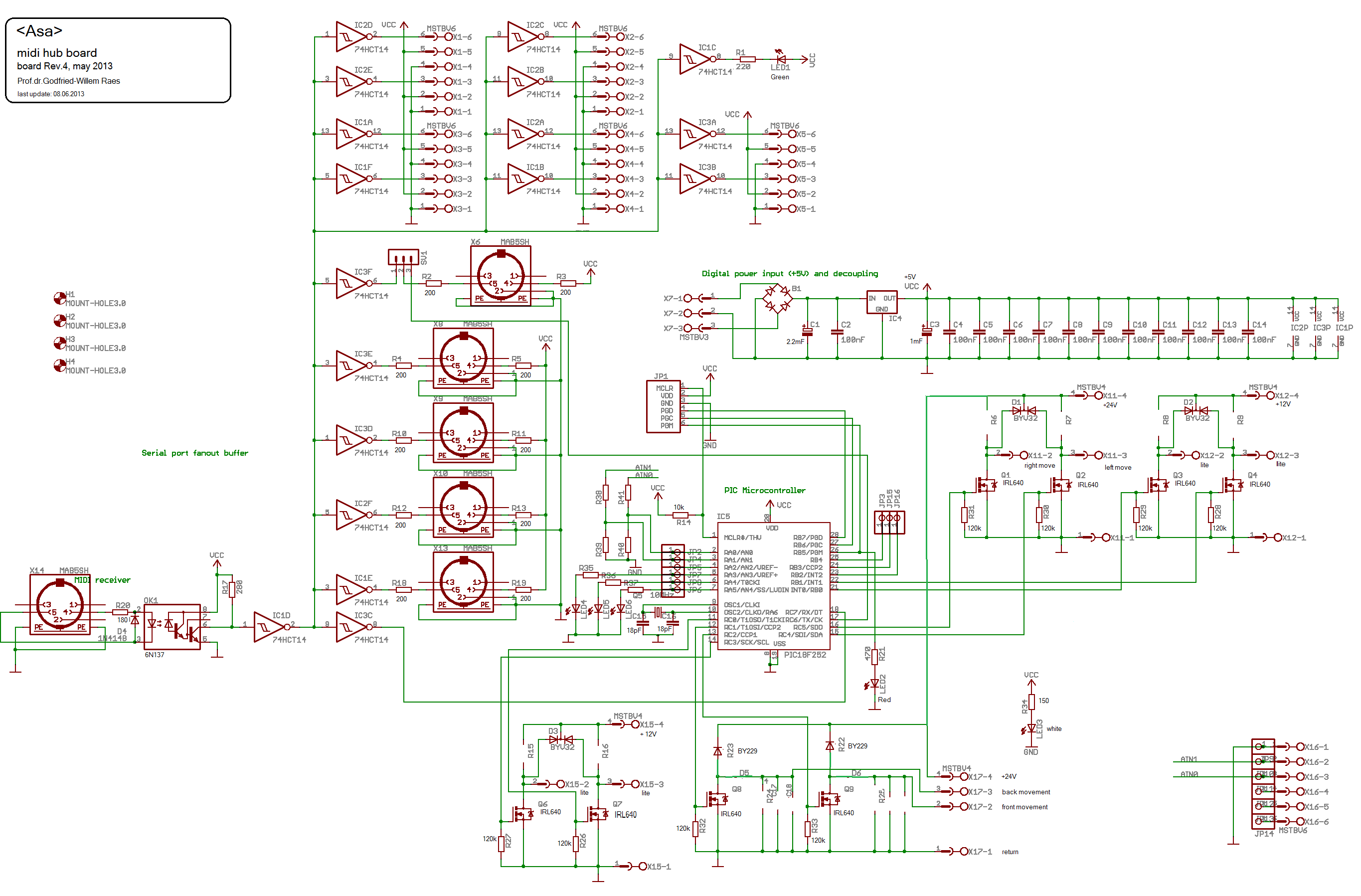 Asa An Automated Alto Saxophone By Godfried Willem Raes Robotics Wiring Diagram Start Coding For The Pic18f2525 Firmware On Midi Hub Board Controlling Four Lights And All Motion Of Robot Source Code Can Be Found Here